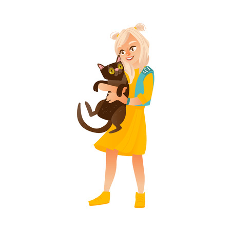 Blond teenage girl standing and holding black cat. Illustration