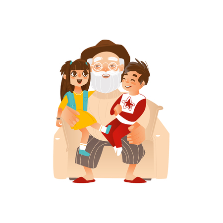 Grandfather holding grand kids, grandchildren on his knees, family portrait, flat cartoon vector illustration isolated on white background. Grandfather, grandpa with grandchildren, happy family concept.  イラスト・ベクター素材