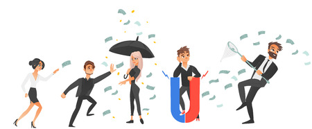 People running after flying banknotes, holding money attracting magnet, standing under dollar rain with umbrella, flat vector illustration isolated on white background. People and flying money set
