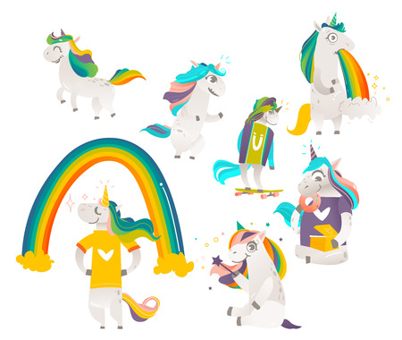 Set of funny cute unicorns doing magic, standing, running, eating donuts, vomiting rainbow, flat cartoon vector illustration isolated on white background. Big funny set of rainbow unicorn characters.
