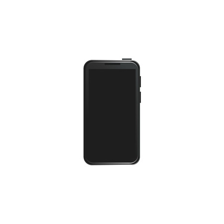Vector flat black smartphone in modern style. High detailed mobile phone icon with black touchscreen. Isolated illustration template, white background. Illustration