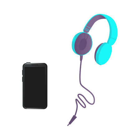 Vector flat black smartphone, bright blue headphones in modern style.