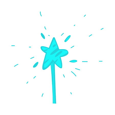 Vector cartoon hand drawn magic wand with star.