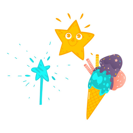 Vector cartoon magic wand with star, shiny star with face, magic ice cream. Illustration