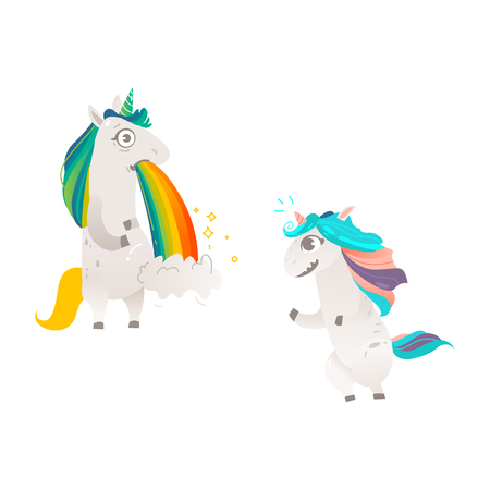 Vector cartoon funny stylized unicorn standing on hind legs with colorful hair and pink horn, unicorn puking rainbow.