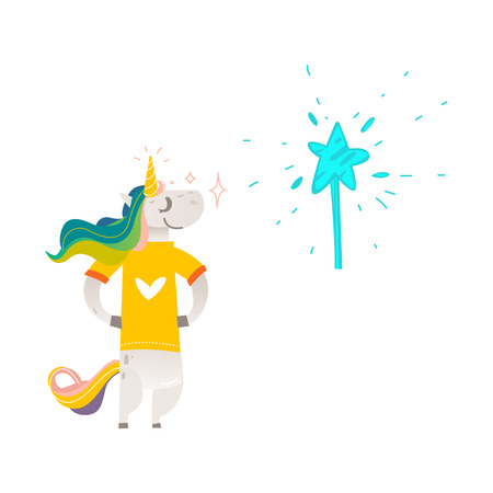 Vector cartoon stylized unicorn character standing in yellow t-shirt with heart print colorful hair and horn, magic wand with star.