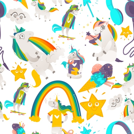 Seamless pattern with funny cute unicorn characters, stars and rainbows, flat cartoon vector illustration on white background. Illustration