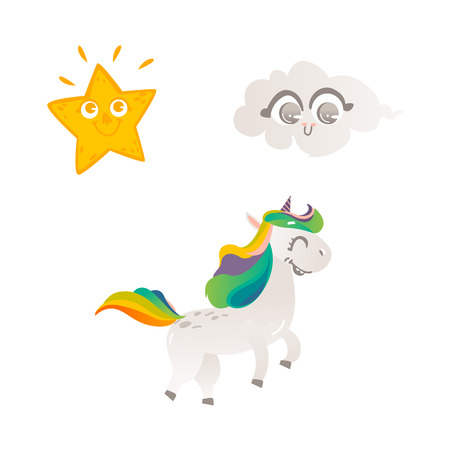 Vector cartoon funny stylized unicorn walking, smiling with rainbow colorful hair and horn, sun star, smiling cloud set. Fairy mysterious creature, isolated illustration on a white background. Ilustrace