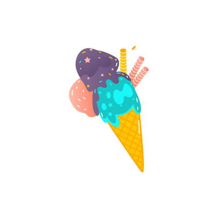 Ice cream cone with three colored scoops and waffle tubes, flat style vector illustration isolated on white background. Waffle cone with three scoops of colorful ice cream. Illustration