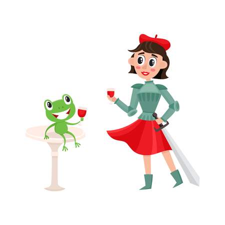 vector flat cartoon beautiful young woman in red felt beret, Joan of Arc costume drinking wine with frog. French, parisian style female portrait full length. Isolated illustration ona white background
