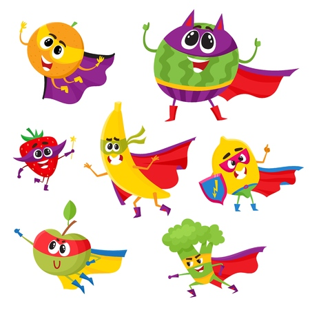Set of fruit and berry hero, superhero characters in capes and masks, cute cartoon vector illustration isolated on white background. Funny cartoon fruit and berry hero, superhero character set Illustration