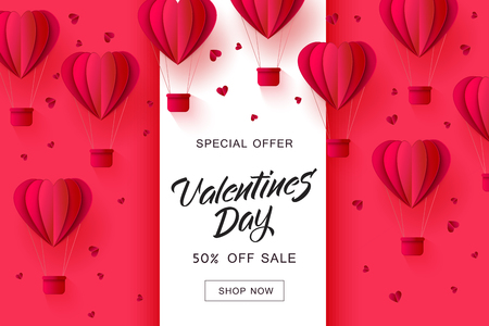 Vector valentines day sale card template with origami paper hot air balloons in heart shape background. Holiday illustration on red background for poster, banner, advertising design.