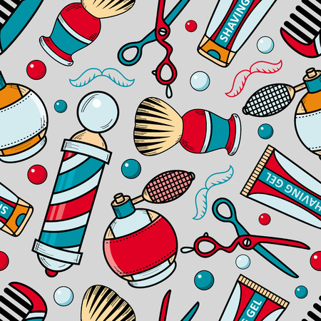 Seamless pattern with barber tools - razor, shaving brush, hair comb, lotion and barbershop pole, cartoon vector illustration on gray background. Seamless pattern, background with barbershop items Иллюстрация