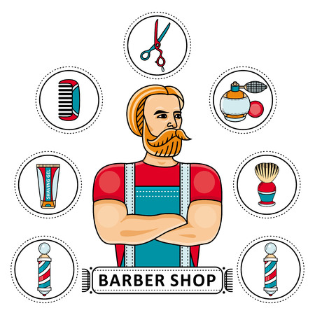 Hand-drawn barbershop set - barber, scissors, shaving gel and brush, hair comb, lotion and barbershop pole, vector illustration isolated on white background. Barbershop set with barber and tools.