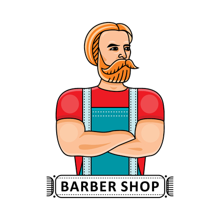 Barbershop logo template with muscular hipster barber in apron standing with folded arms, flat cartoon vector illustration isolated on white background. Barbershop logo with handsome hipster barber. 向量圖像