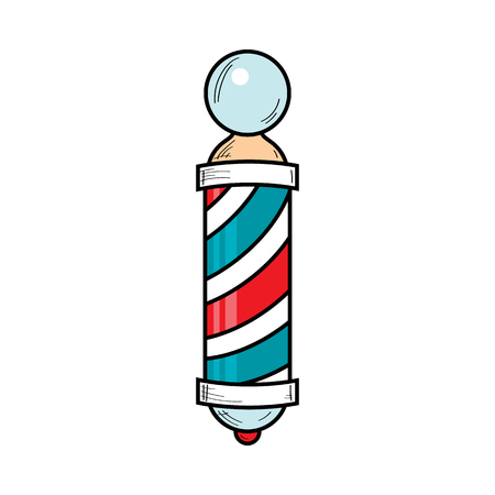 Hand-drawn retro style barber pole, barbershop striped revolving sign, vector illustration isolated on white background. Drawing of barber pole, sign used by barbershops.