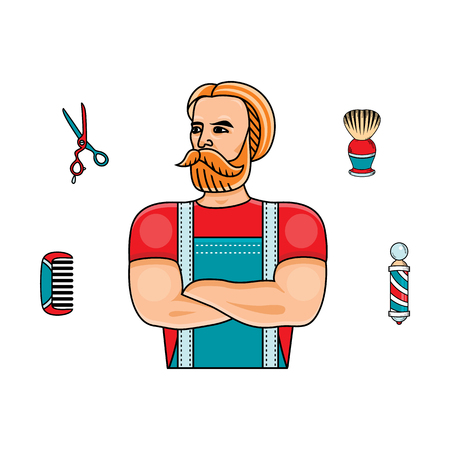 vector flat barber shop concept with brutal hipster man with big beard near shaving accessories  scissors, comb, shaving brush, barber pole. Isolated illustration on white background