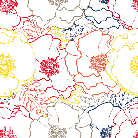 Vector hand drawn sketch contour illustration of colorful poppy flowers with opened blossoms, leaves seamless pattern. Floral natural decoration background, backdrop element for fabric, textile design