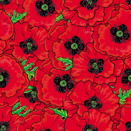 Hand drawn sketch vector illustration of red poppy flowers with opened blossoms, leaves seamless pattern. Floral natural decoration background, backdrop element for fabric, textile design.