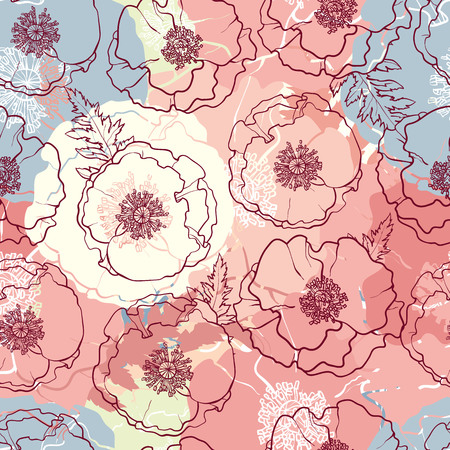 Vector hand drawn sketch illustration of poppy flowers with opened blossoms, leaves seamless pattern. Floral natural decoration background, backdrop element for fabric, textile design.