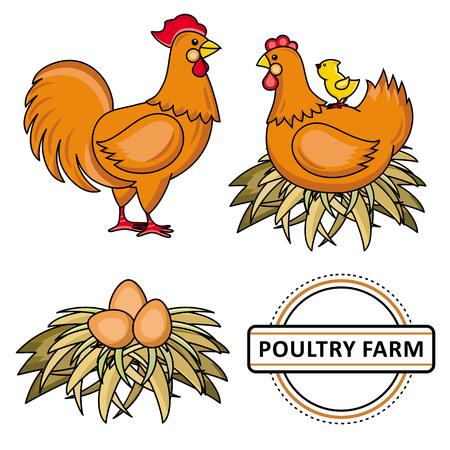 ベクトルフラットチキンセット。茶色の鶏、コック、鶏の鶏、干し草の巣の卵、鶏、養鶏場に座って黄色の小さなひよこ。●孤立したイラスト、白