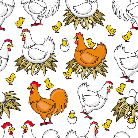 vector flat brown, white hen chicken sitting in hay nest, yellow chicks around seamless pattern Isolated illustration on a white background. Farm poultry chicken.