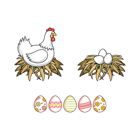 vector flat white colored hen chicken, eggs in hay nest and decorated Easter spring festive eggs icon set. Isolated illustration on a white background.