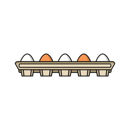 vector platte kip kip bruine, witte eieren in kartonnen ei vak geïsoleerde pictogram. Illustratie op een witte achtergrond. Boerderij kippen kip objecten voor reclame, posterontwerp. Stock Illustratie