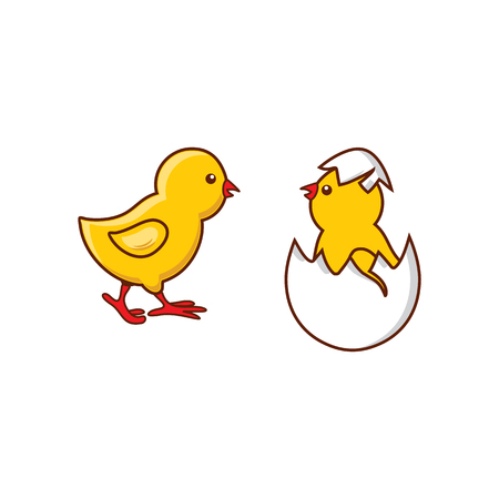 vector flat cute baby chicken, yellow small chick hatching from egg set. Flat bird animal, isolated illustration on a white background, poultry, farm organic food products advertising design object. Vettoriali