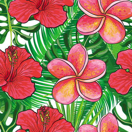 Vector hand drawn sketch illustration of red hibiscus flowers with opened blossoms, tropicall eaves seamless pattern. Floral natural decoration background, backdrop element for fabric, textile design.