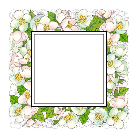 Square frame of cherry blossom flowers with empty space for text, sketch, hand drawn vector illustration isolated on white background. Hand-drawn vector cherry blossom flowers forming square frame