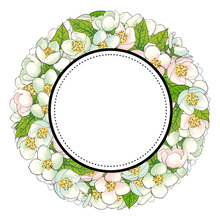 Round frame of cherry blossom flowers with empty space for text, sketch, hand drawn vector illustration isolated on white background. Hand-drawn vector cherry blossom flowers forming round frame