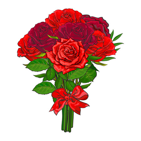 De bos, boeket van rode roze bloemen klopte met scharlaken lint, schets, hand getrokken vectordieillustratie op witte achtergrond wordt geïsoleerd. Handgetekende vector bos van rode roze bloemen vastgebonden met lint. Stock Illustratie