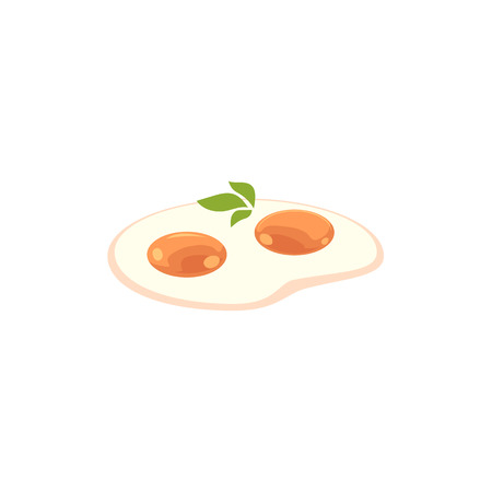 Flat vector fried chicken egg with greenery icon for restaurant and cafe menu isolated illustration on a white background.