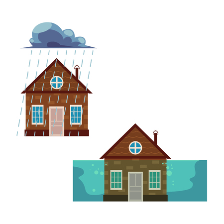 Flat vector house insurance concept set. House being damaged by wind, pouring rain and flood. Natural disaster insurance scenes isolated illustration on a white background.