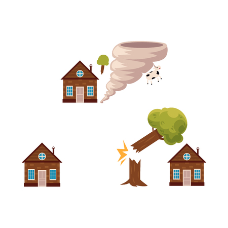 Flat vector house insurance concept set. House being damaged by tornado wind hurricane or whirlwind and falling tree. Natural disaster insurance scenes isolated illustration on a white background.