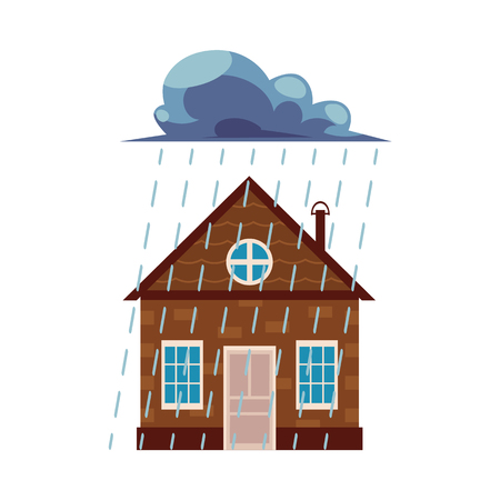 Flat vector house insurance concept. Private house being damaged by pouring rain. Natural disaster insurance scenes isolated illustration on a white background.