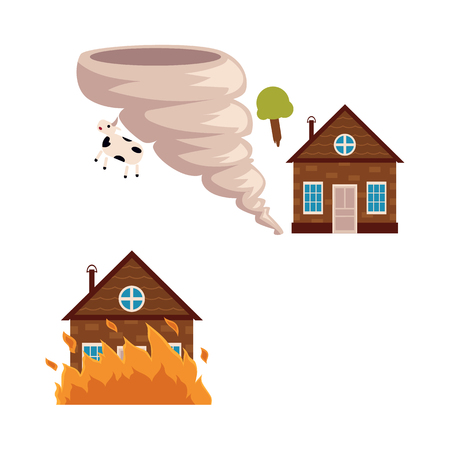 Flat vector house insurance concept set. House being damaged by tornado wind hurricane or whirlwind and fire. Natural disaster insurance scenes isolated illustration on a white background.