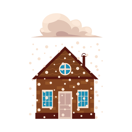 Flat vector house insurance concept. Private house being damaged by falling snow. Natural disaster insurance scenes isolated illustration on a white background.