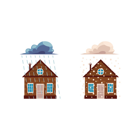 Flat vector house insurance concept set. House being damaged by wind, pouring rain and snowfall. Natural disaster insurance scenes isolated illustration on a white background. Stock Illustratie