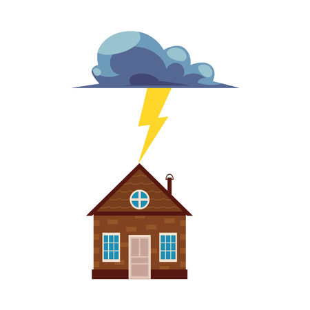 Flat vector house insurance concept set. House being damaged by thunder and lighting strike. Natural disaster insurance scenes isolated illustration on a white background.