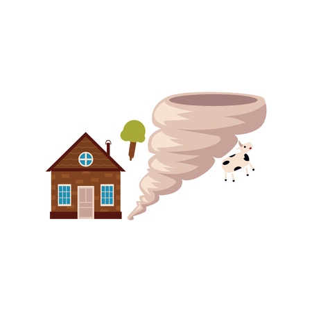 Cottage house in danger of being destroyed by storm, hurricane, tornado, cartoon vector illustration isolated on white background. Tornado, storm hurricane threatening a house, home insurance concept. Illustration