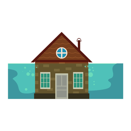 Cottage house under water, flood insurance concept icon, cartoon vector illustration isolated on white background. Cottage house flooded by water to the rood, home insurance from flooding. Illustration