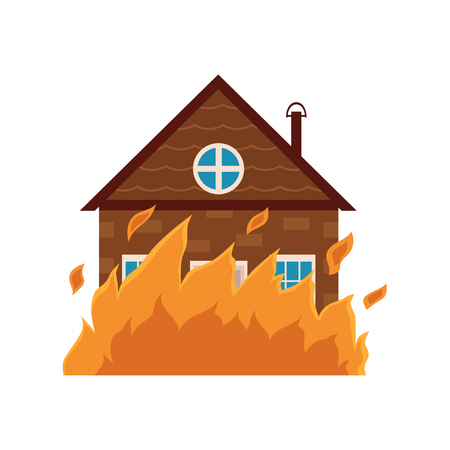 Cottage house burning, fire insurance concept icon, cartoon vector illustration isolated on white background. Fire insurance icon, symbol, sign with cartoon style picture of burning cottage house.