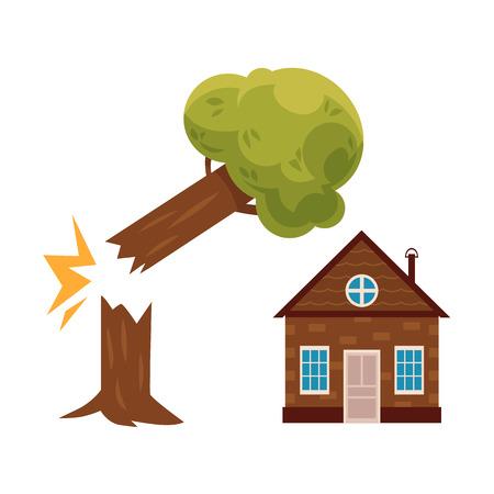 Gebroken boom vallen op cottage huis, onroerend goed verzekering concept pictogram, cartoon vectorillustratie geïsoleerd op een witte achtergrond. Onroerend goed verzekering pictogram met boom vallen op cartoon cottage huis. Vector Illustratie