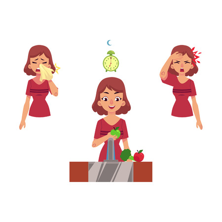 Young woman with illness vector set. Female characters suffering from runny nose, headache and girl eating vitamins, with healthy sleep and lifestyle isolated illustration on a white background.