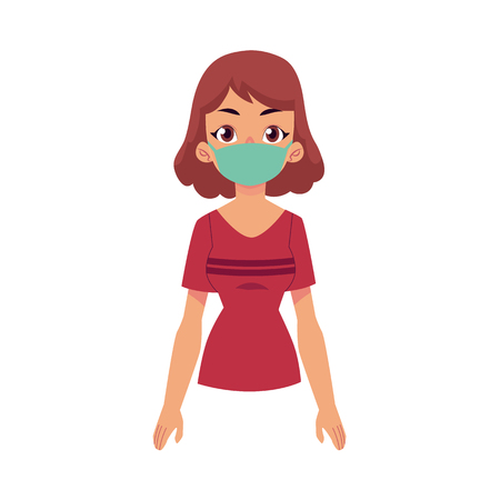 Flat vector young woman wearing protection mask, standing in red t-shirt. Cartoon isolated illustration on a white background illness and disease symptoms concept.