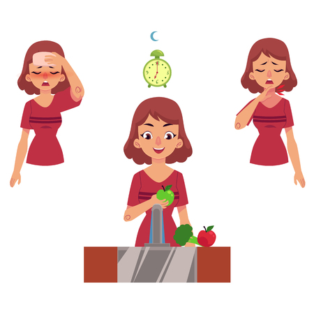 Young woman with illness vector set. One girl holding forehead because of headache, another suffering from insomnia and girl eating vitamins, with healthy sleep and lifestyle isolated illustration.