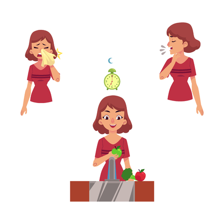 Young woman with illness vector set. Female characters suffering from runny nose, sneezing and cough and girl eating vitamins, with healthy sleep and lifestyle isolated illustration.
