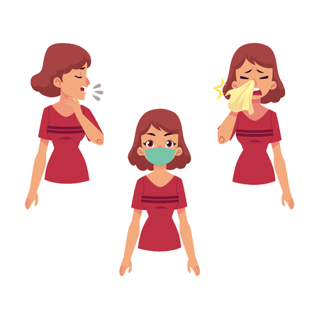 Flat vector of a young woman with illness set. One girl wearing protection mask, another suffering from runny nose and cough. Cartoon isolated illustration on a white background illness disease symptoms. 일러스트
